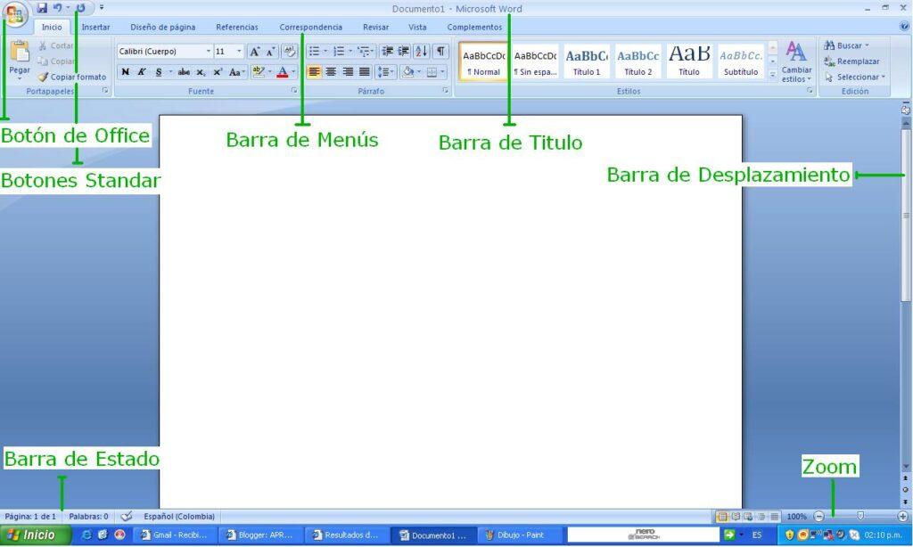 barra de título de word