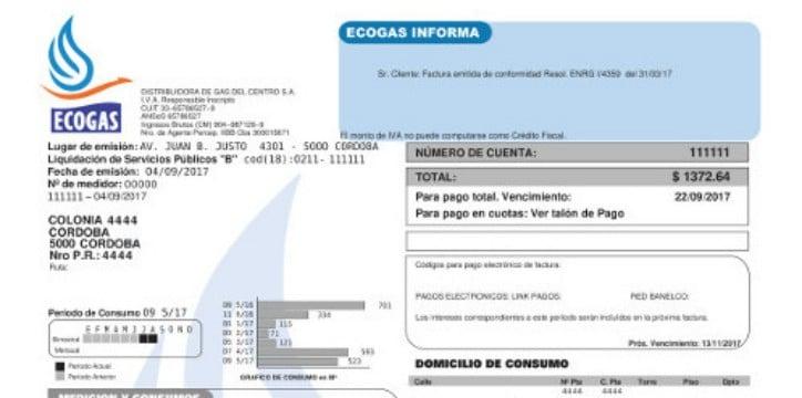 reimpresión de facturas de ecogas