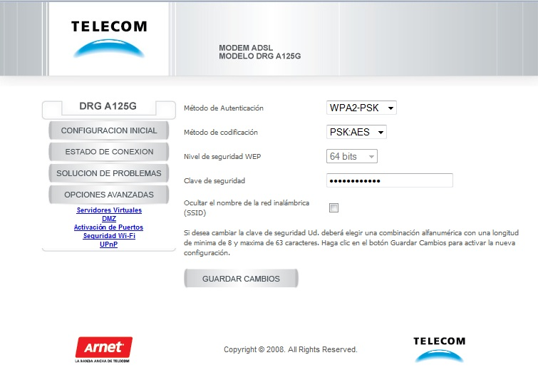 configurar módem Arnet wifi